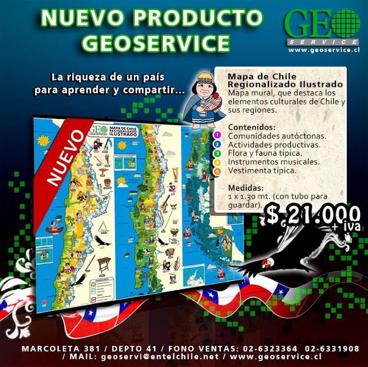 MAPA DE CHILE REGIONALIZADO ILUSTRADO