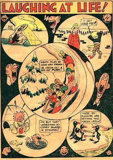Catoon penguins are shown in this classic old comic book page.