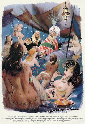 Sexy women in harem in classic Playboy cartoon by Jack Cole