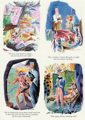 Classic cartoon of Uncle Sam having sex with Pocahontas in vintage Playboy magazine page
