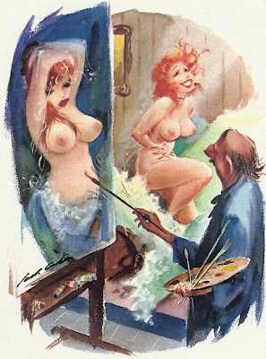 Beautiful sexy naked model and painter in vintage classic Playboy magazien cartoon