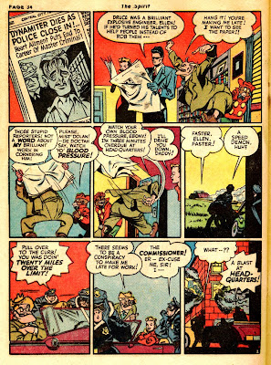 Cartoon drawing of man reading newapaper is shown in this rare old comic book