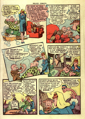 A cartoon drawing of a sexy red headed woman in a tight blue dress appears on this classic golden age comic book page by famous cartoonist Jack Cole.