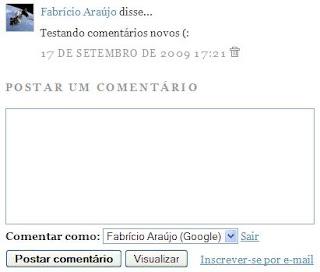 Formulário de comentário com avatar no Blogger