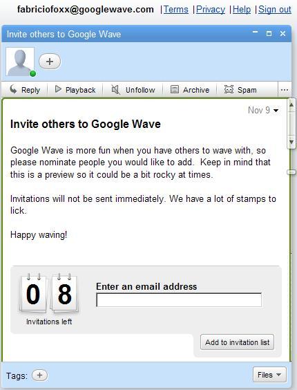 Convites Google Wave