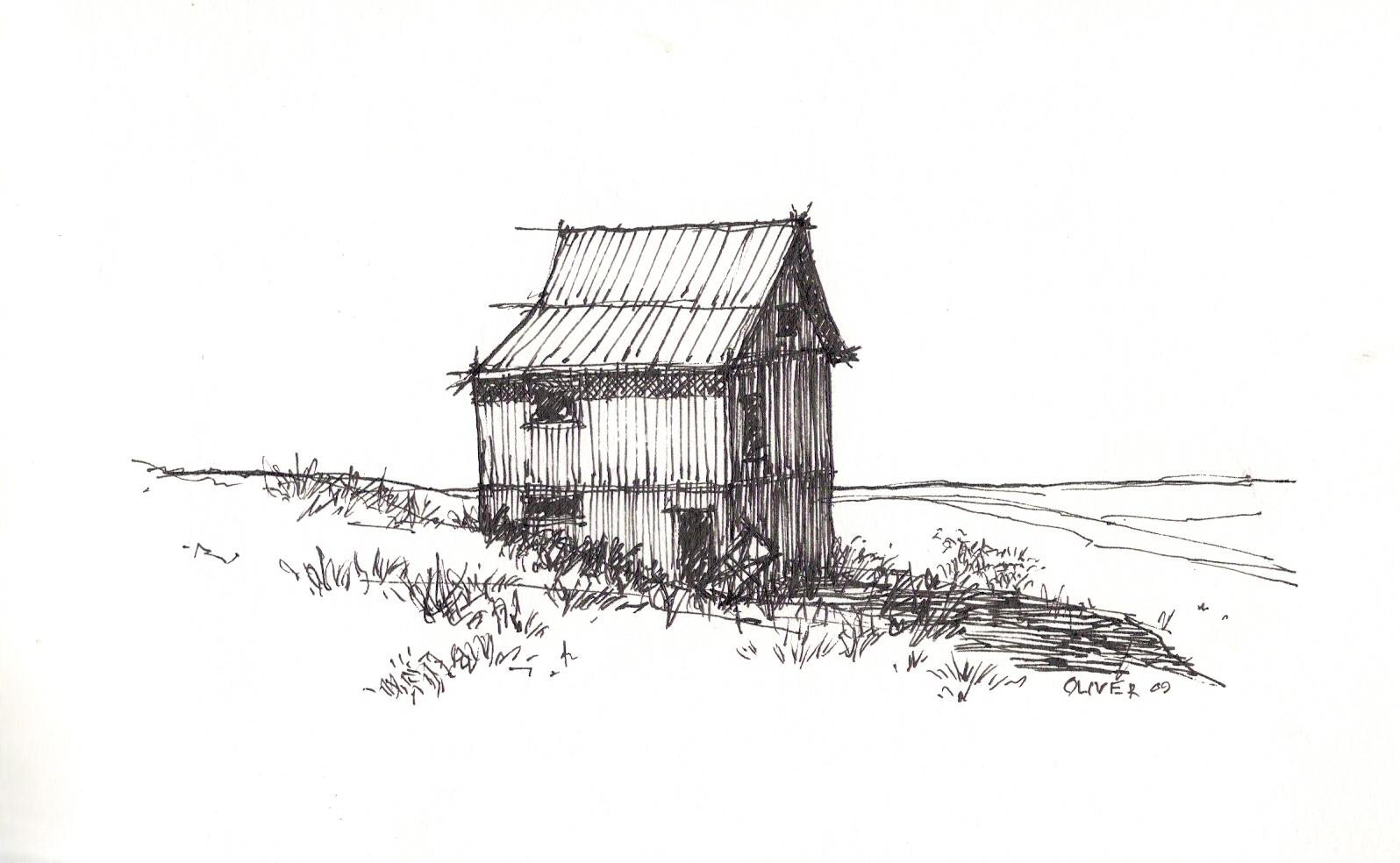 Tim oliver 39 s sketchbook my take on a barn from freehand for Online architecture drawing