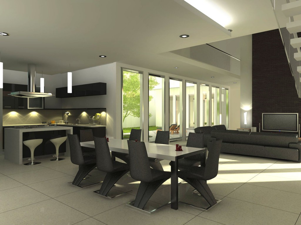 Exellent home design modern dining room for Modern interior design