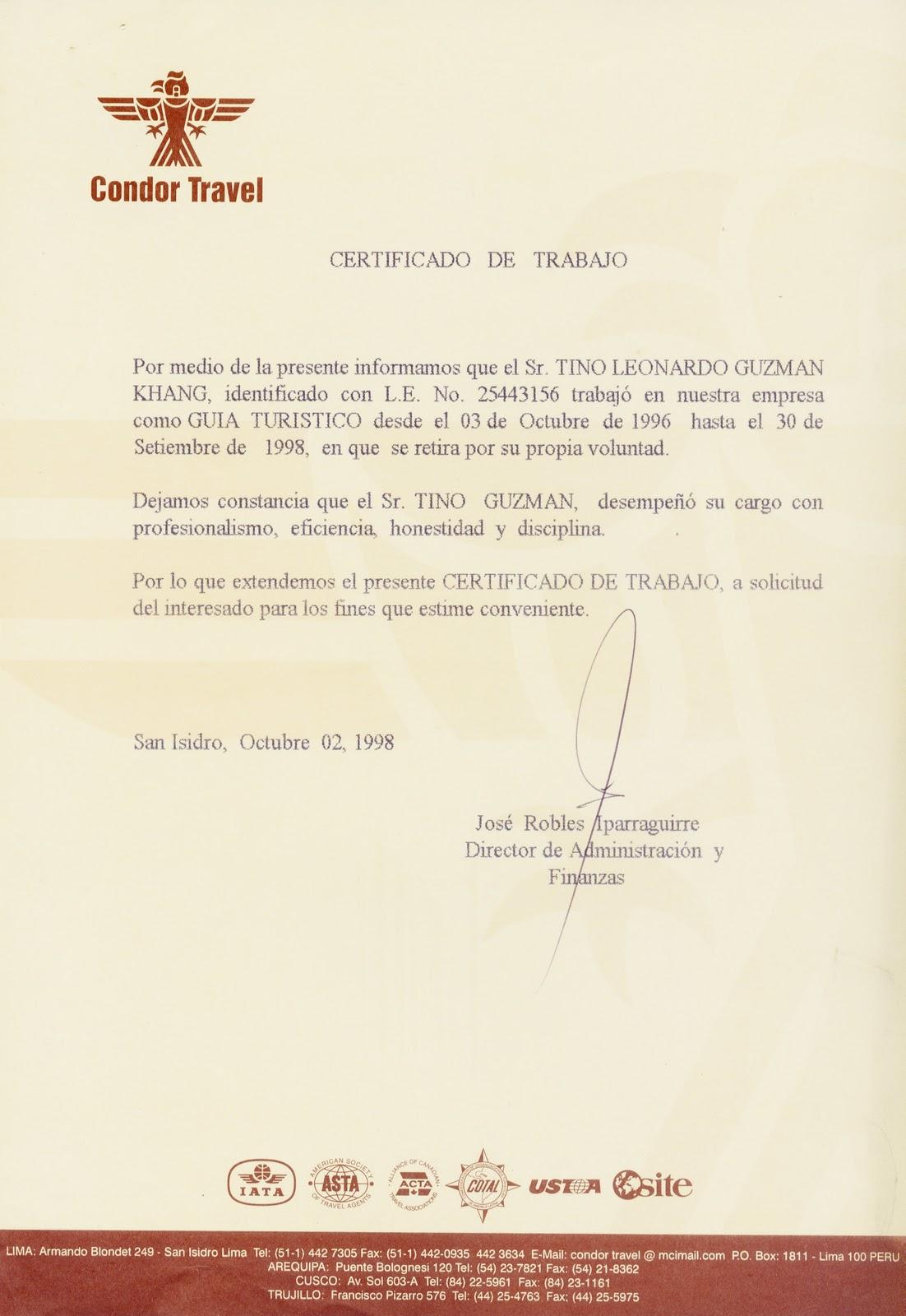 TINO GUZMAN PERU TOUR GUIDE: TINO LEONARDO GUZMAN KHANG CURRICULUM ...