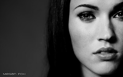 Megan Fox widescreen face 1680x1050 black and white photo