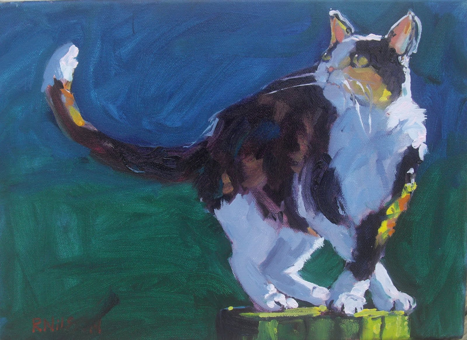 rick nilson s paintings cat on a stick sold