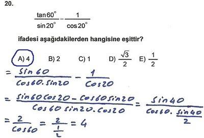 2010 lys matematik 20. soru ve çözümü