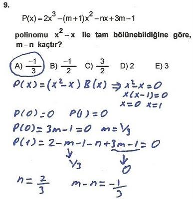 2010 lys matematik 9. soru ve çözümü