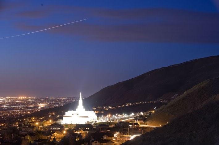 green mormon architect light pollution of bountiful temple in