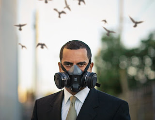 a dude in a respirator (air filter mask)