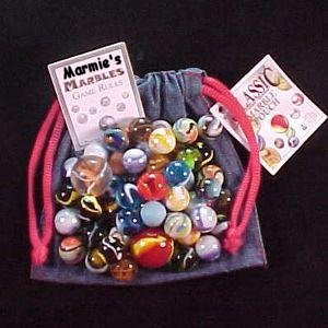a bag of marbles with the tag altered to say MArmie's marbles