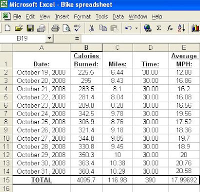 screen capture of the spreadsheet for this month's rides