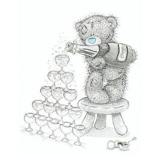 a tattered teddy standing on top of a foot stool pouring champagne in a tower of glasses