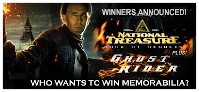 National Treasure: Book of Secrets + Ghost Rider Winners Announced!