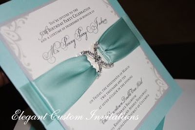 Wedding invitations houston elegant custom invitations birthday the colors of the day were tiffany blue silver and black the invitations were a layered flat card accented with a jewelled embellishment with tiffany blue filmwisefo