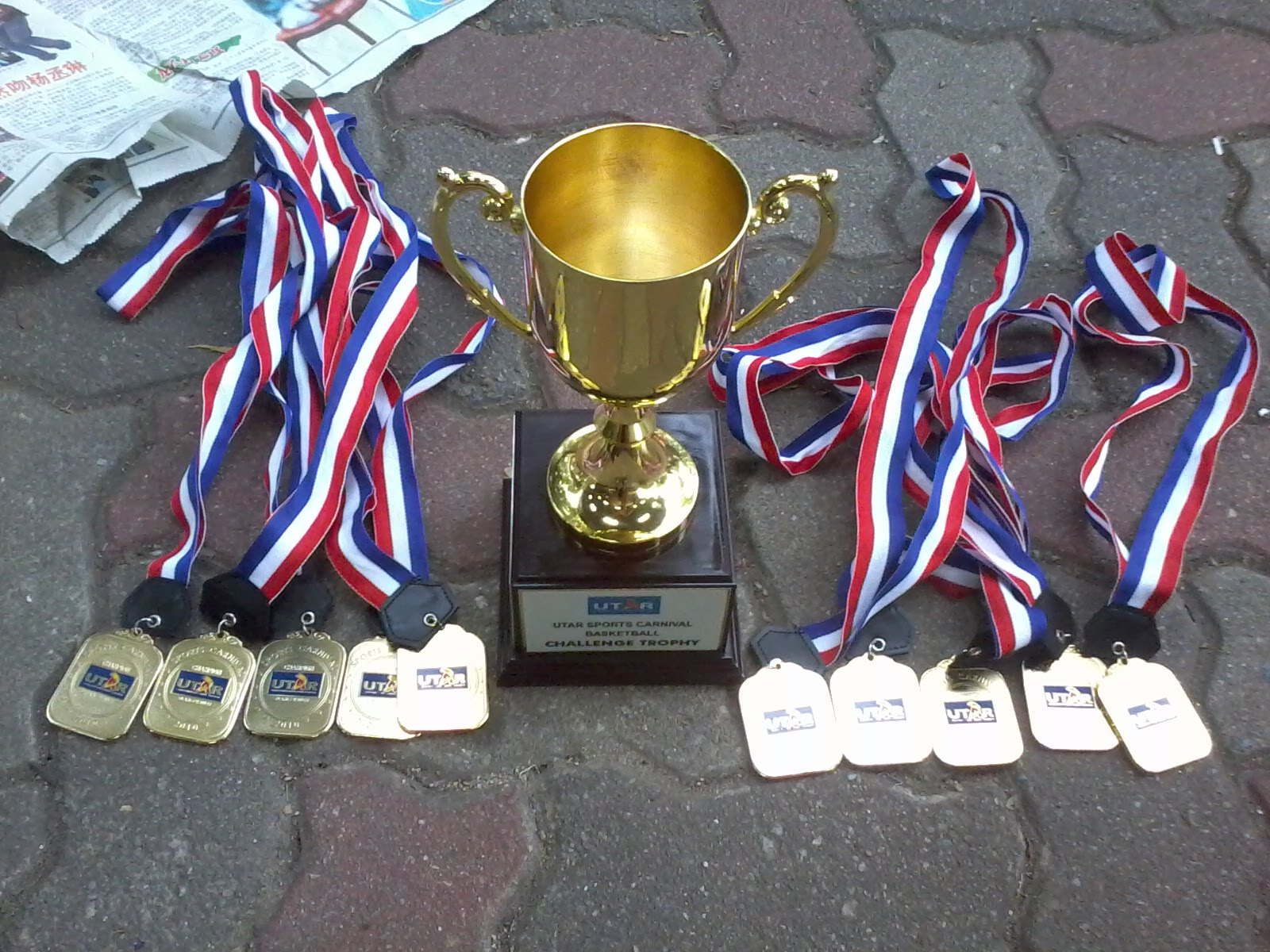 This Is The Basketball Trophy And Gold Medals But Too Bad All My Teammate Leave After Final Because Prize Giving Ceremony Will Start About 2