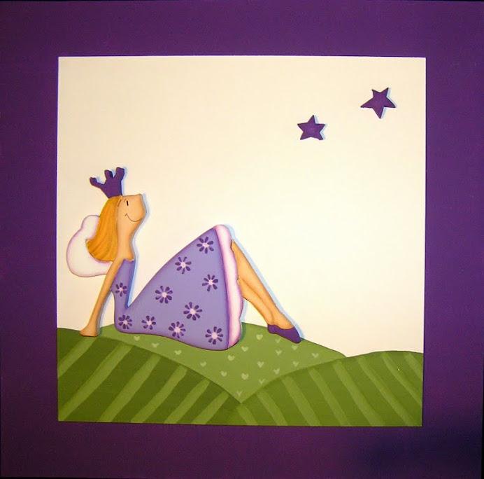 Cuadro de hada sentada violeta 40x40