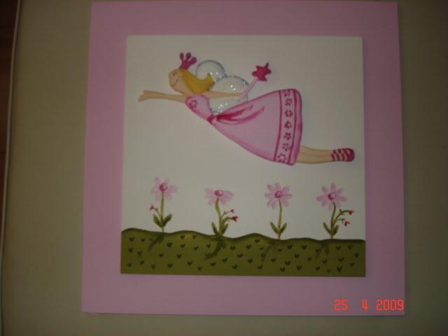 Cuadro de hada volando rosa 40x40