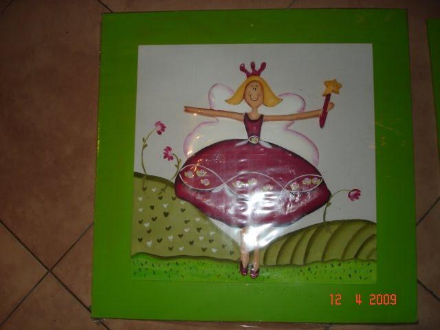 cuadro hada verde manzana 40 x40