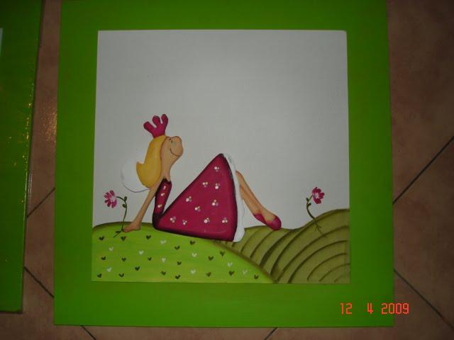 cuadro hada verde manzana 40x40