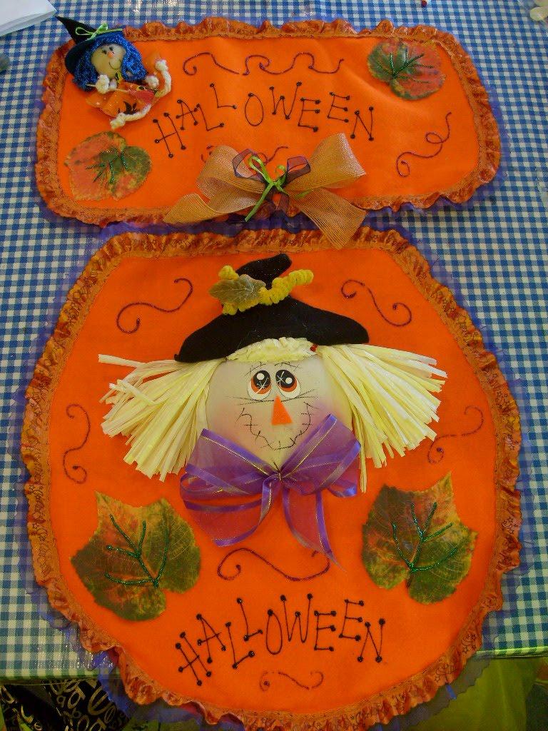 Decoracion Baño Halloween:Juego de baño en fieltro y manta, consta de 3 piezas