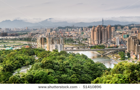 Taipei city skyline with river and famous