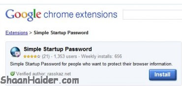 Lock Google Chrome Browser With StartUp Password Extension