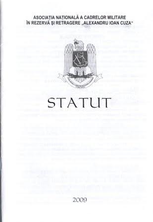 STATUTUL ASOCIATIEI NATIONALE A CADRELOR MILITARE IN REZERVA SI IN RETRAGERE