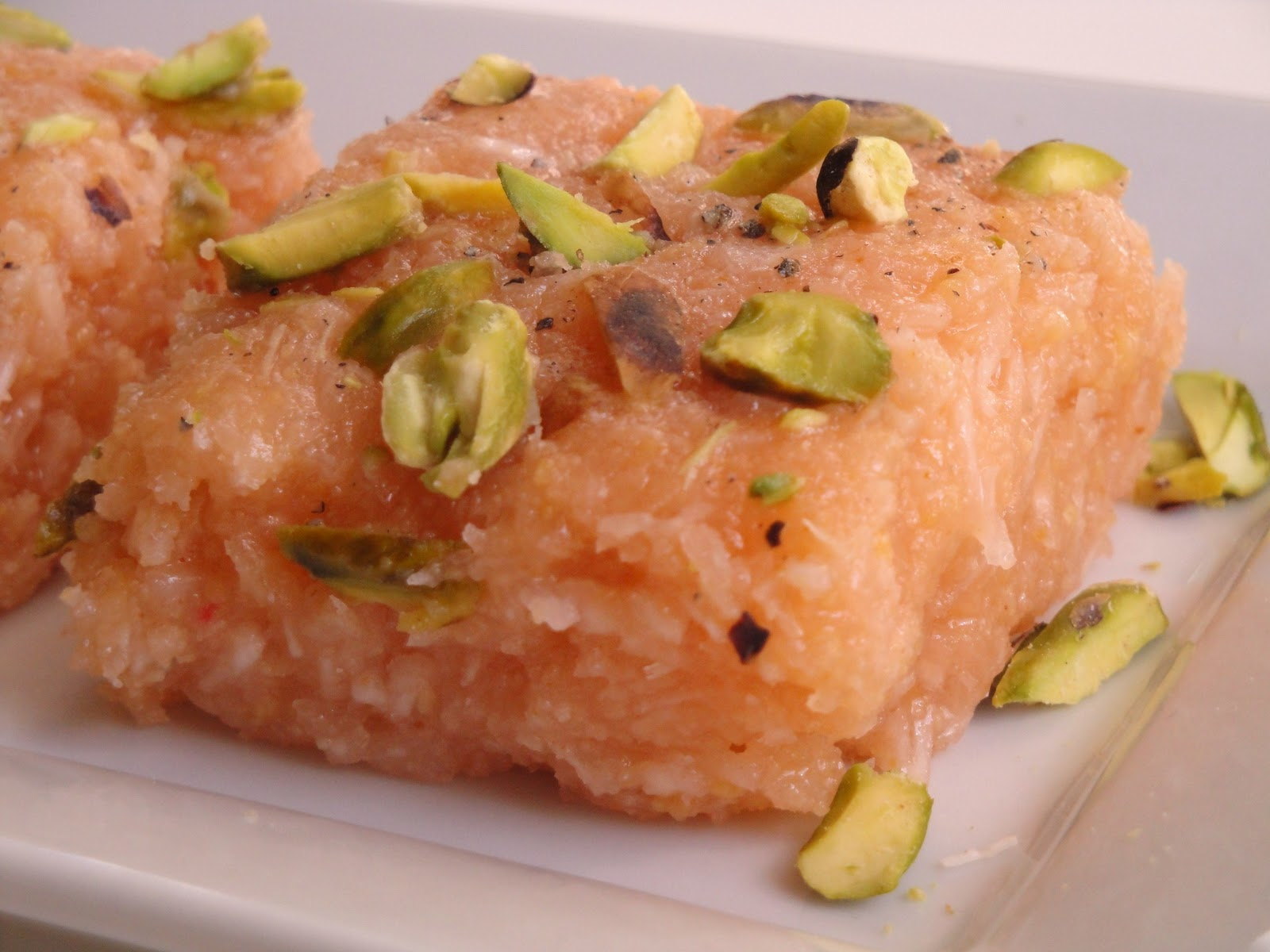 cumin and cardamom: Pistachio and Rose Coconut Burfi ( Nariyal ki ...