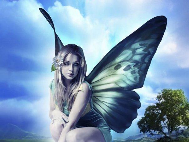 Mariposa y mujer