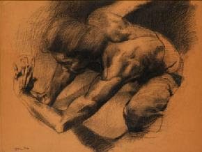 Amron Omar: Study for Pertarungan II, 1980, Charcoal on paper