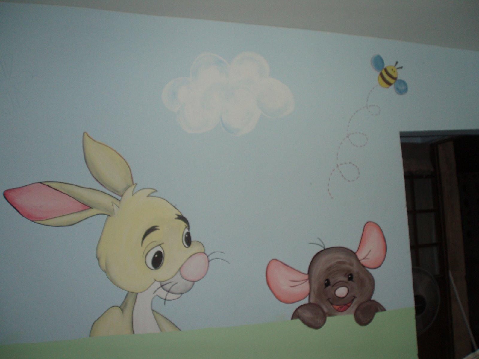 Murales infantiles mirando al bebe recamara phoo y sua amigos for Murales infantiles nina