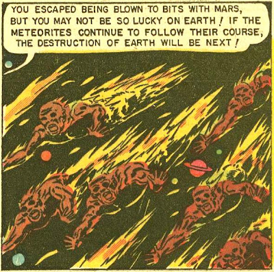 Panel from 'Beware the Human Meteorites,' featuring the titular 'Human Meteorites,' which in appearance and to some degree behavior resemble flaming space zombies.