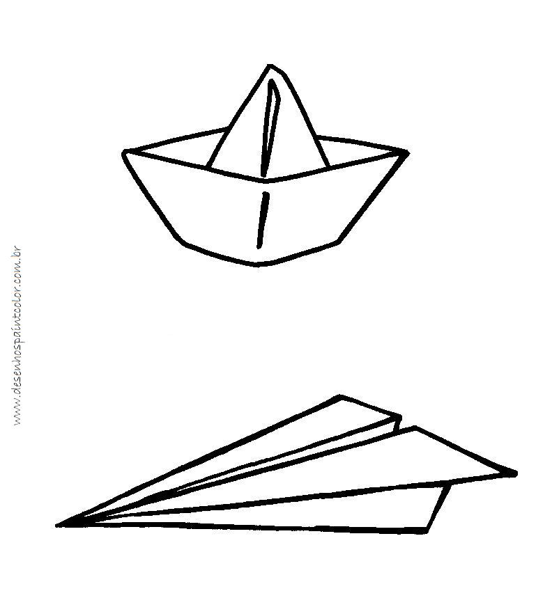 Desenho de barco de papel para colorir e barquinho de - Papel de pintar ...