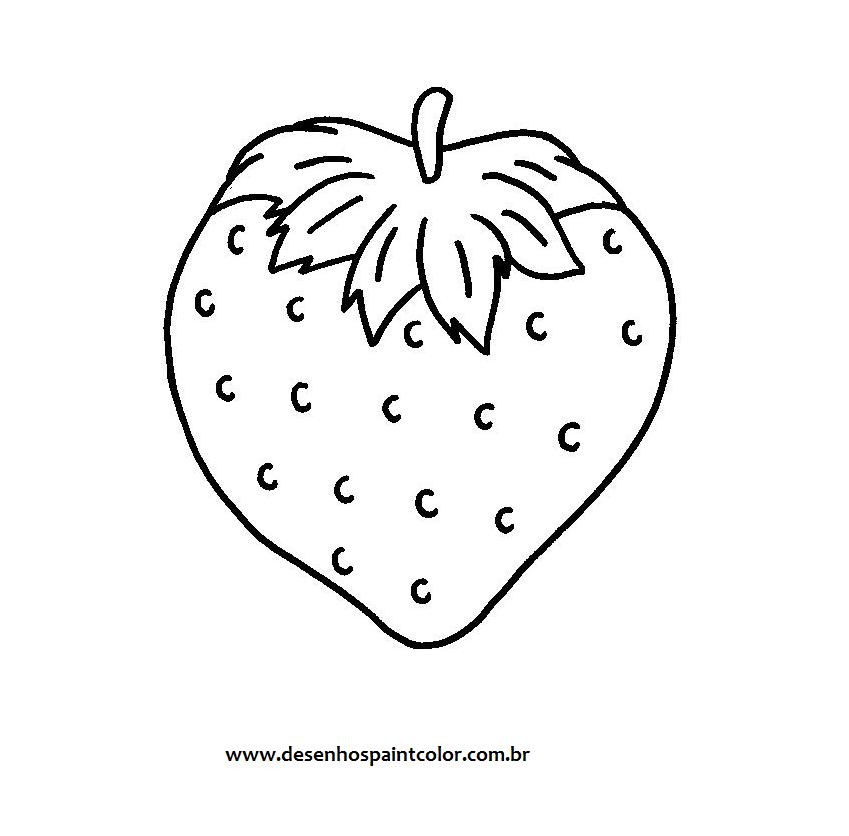 Ou Risco De Morango Desenho Fruta Para Imprimir E Colorir