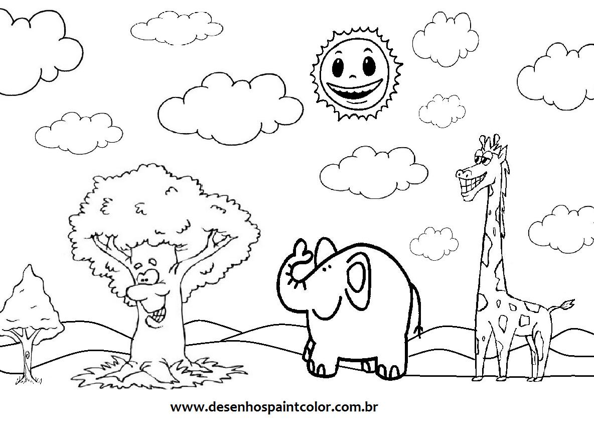 colorindo com a dry desenho de animais em meio Á floresta para