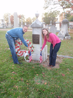 Travis and I placing Betsy Ross flags at Peter Francisco's grave