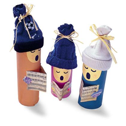 Con Tubos de cartón del papel higiénico y combinado con cartulina y