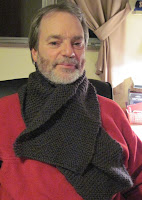 knitted scarf on hubby