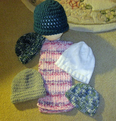 knitted and crocheted hats and scarf