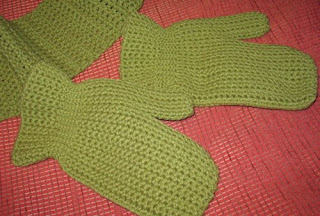 crochet hat, mittens, and scarf set