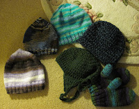 knitted and crocheted hats, knitted mittens