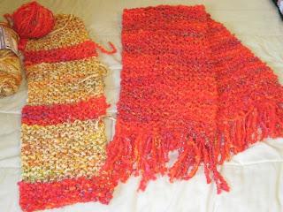 2 knitted scarves for homeless