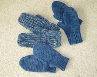 blue crocheted mittens