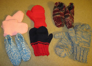 knitted mittens and slippers