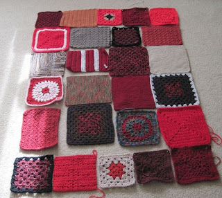 red brown squares